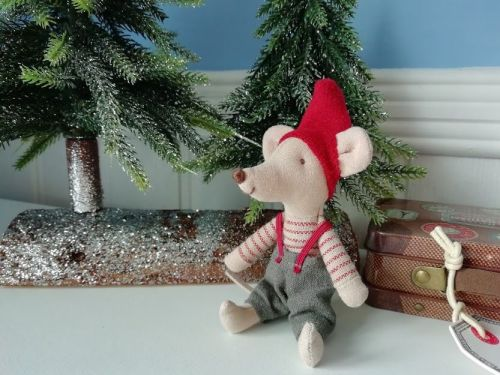 Maileg, Christmas Mouse, Little Brother in a Suitcase
