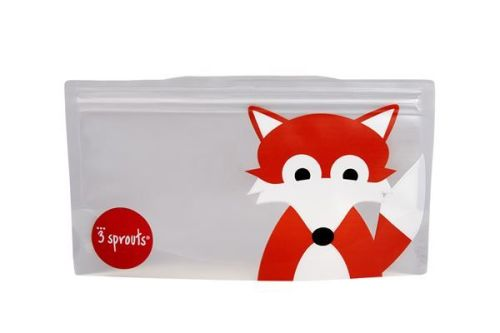 3 Sprouts Reusable Snack Bag, Fox (2 per pack)
