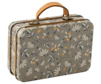 Maileg, Metal Suitcase - Grey Floral Merle Dark