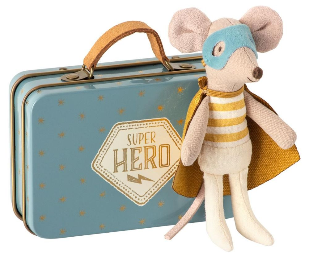 Maileg, Superhero Mouse, Little Brother in Suitcase (Due March)