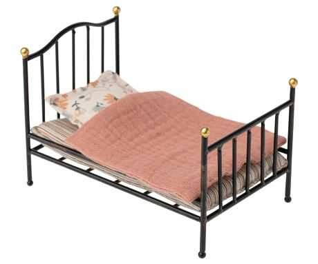 Maileg, Vintage Bed, Mouse Size - Anthracite (Due March)