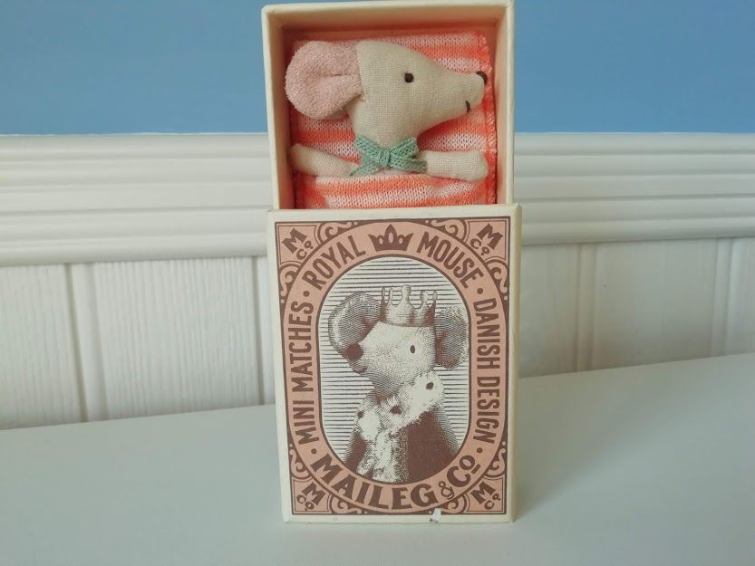 Maileg baby sleepy/wakey mouse (Orange) *Slight Fault on Box*
