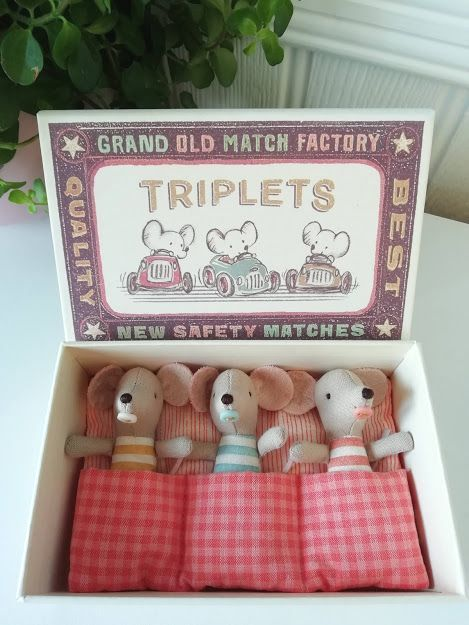 Maileg, Baby Mice, Triplets in Box