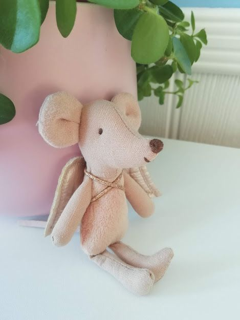 Maileg, Little Sister Fairy Mouse, Light Pink