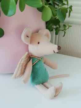 Maileg, Little Sister Fairy Mouse, Soft Blue