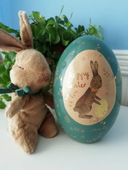 Maileg, Easter Bunny w Blue and Gold Metal Easter Egg *Set*