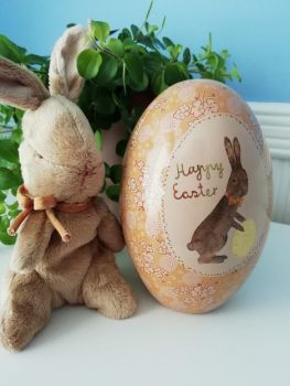 Maileg, Easter Bunny w Yellow and Gold Metal Easter Egg *Set*