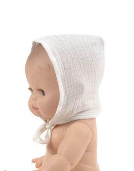 Minikane, Double Cotton Gauze Round Bonnet (Ecru )