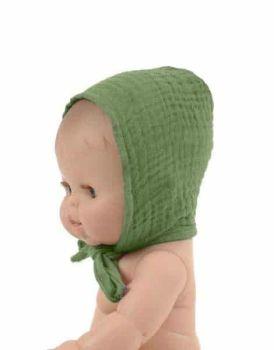 Minikane, Double Gauze Round Cotton Bonnet (Olive Green)