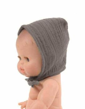 Minikane, Double Cotton Gauze Round Bonnet (Taupe)