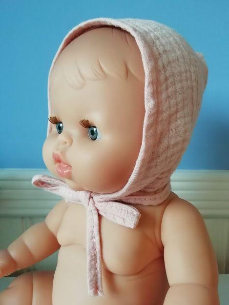 Minikane, Double Cotton Gauze Round Bonnet (Light Pink)