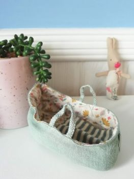 Maileg, Carry Cot, for MY and Baby Mouse, Dusty Green (Darker)