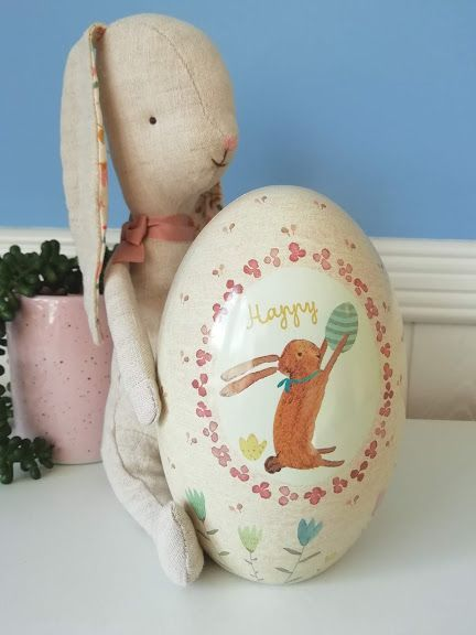 Maileg, Bunny and Metal Easter Egg Set (pink)