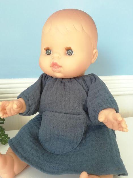 Minikane, Jeanne Dress Double Gauze Cotton (Blue)