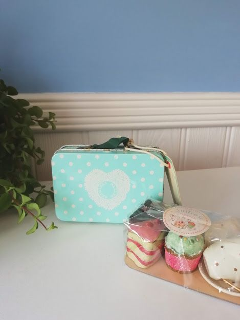 Maileg, Blue Suitcase with cakes and table ware