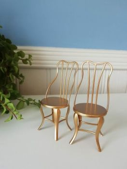 Maileg, Gold Vintage Chair Set, Micro