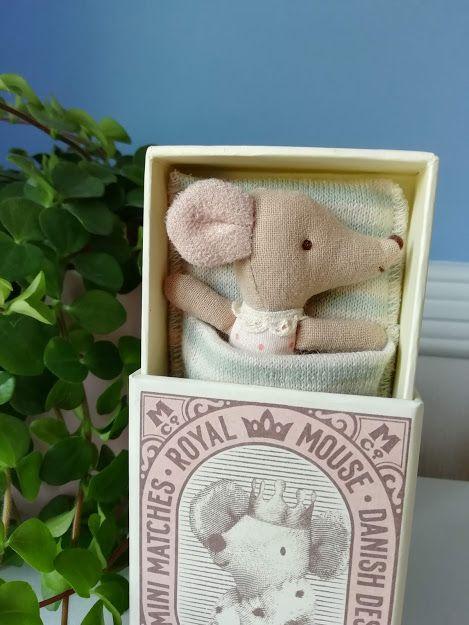 Maileg, Baby Girl Mouse, Sleepy/Wakey in box (pink)