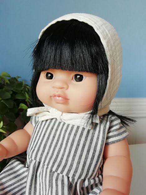 Minikane, Jade in Stripy Dress and Bonnet