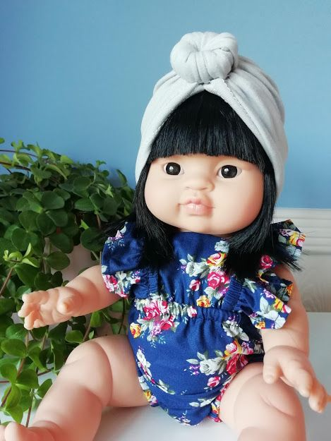 Minikane, Romper Blue Floral with Turban *Set*