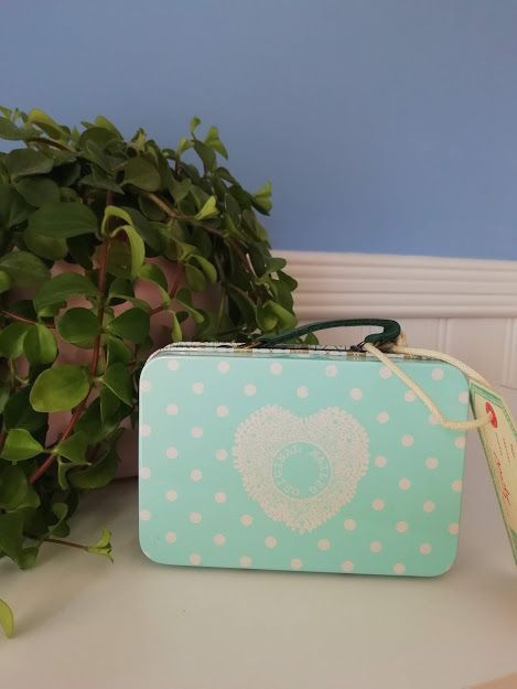 Maileg, Metal Suitcase, Mint Blue with Big Spots