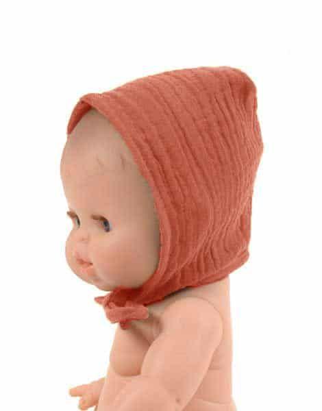 Minikane, Double Cotton Gauze Round Bonnet (Terre de Sienne)