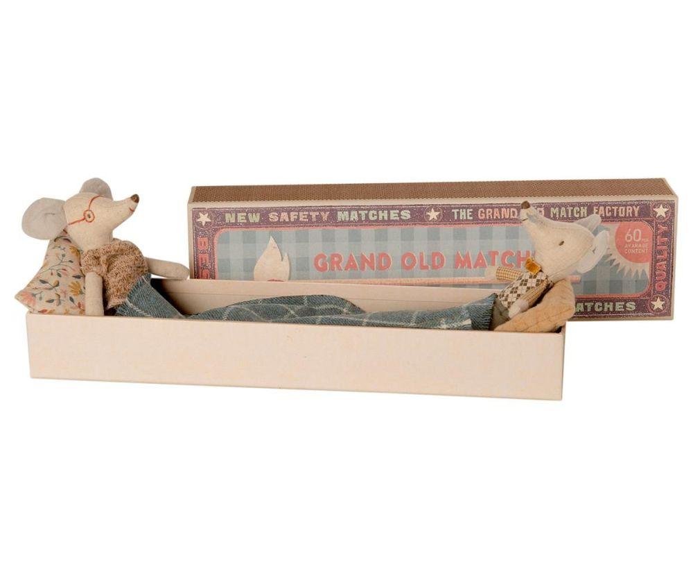 Maileg, Grandma & Grandpa mice in Long Matchbox (Sept)
