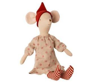 Maileg, Christmas Medium Mouse in Spotty Dress - Girl (DUE LATE SEPT)