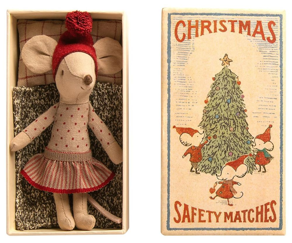Maileg, Christmas Mouse Big Sister in Matchbox (OCT)