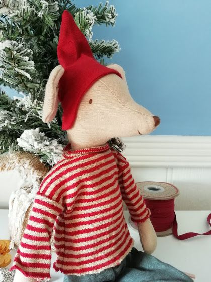 Maileg, Christmas Mouse, Medium Boy -