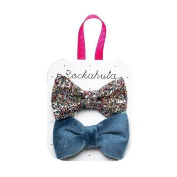 Rockahula Kids, Velvet And Glitter Bow Clips Blue