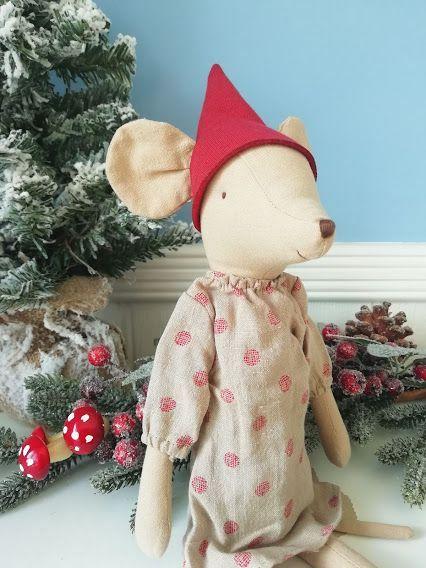 Maileg, Christmas Medium Mouse in Spotty Dress - Girl