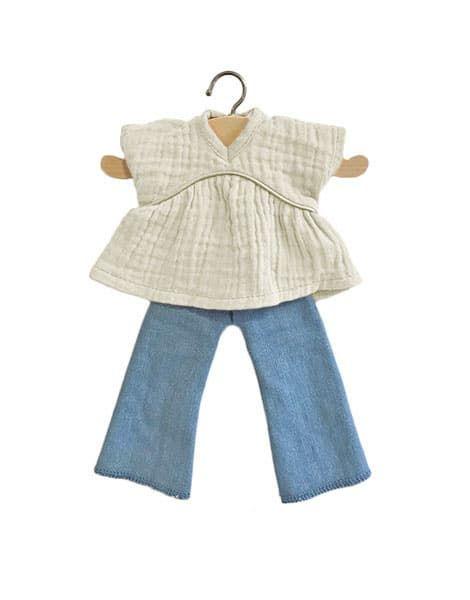 Minikane, Amigas White Daisy Top and Jeans Set