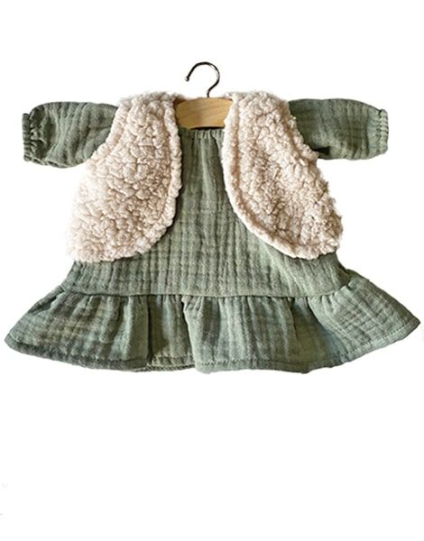 Minikane, LUCIA Olive Green Dress  & LANA Ecru Cardigan Set