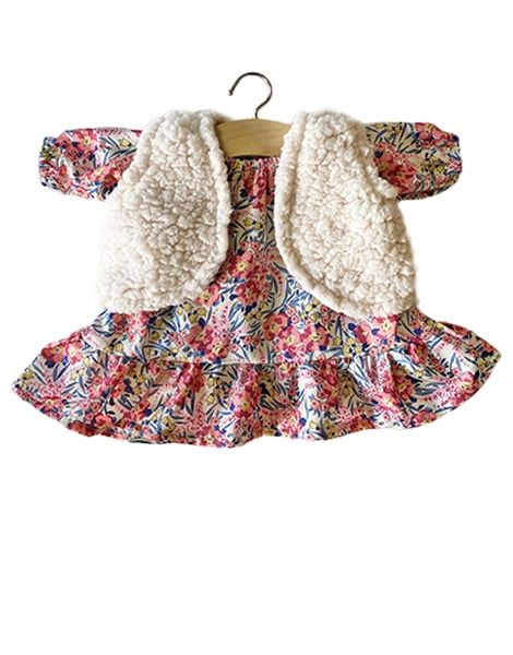 Minikane, LUCIA Dress in Liberty Swirling Pearls & LANA Ecru Cardigan