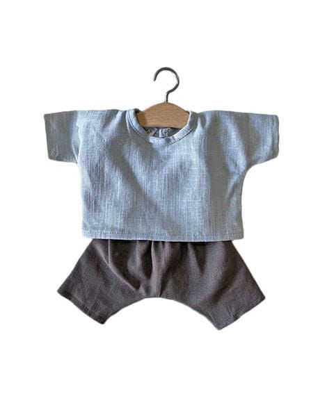 Minikane, Blue linen Top with  Charcoal Gray Trousers Set