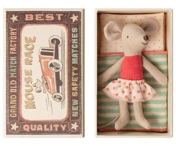Maileg, Little Sister Mouse in Red Spotty Skirt