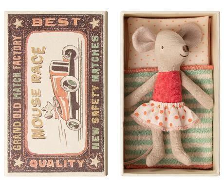 Maileg, Little Sister Mouse in Red Spotty Skirt - DUE NOV