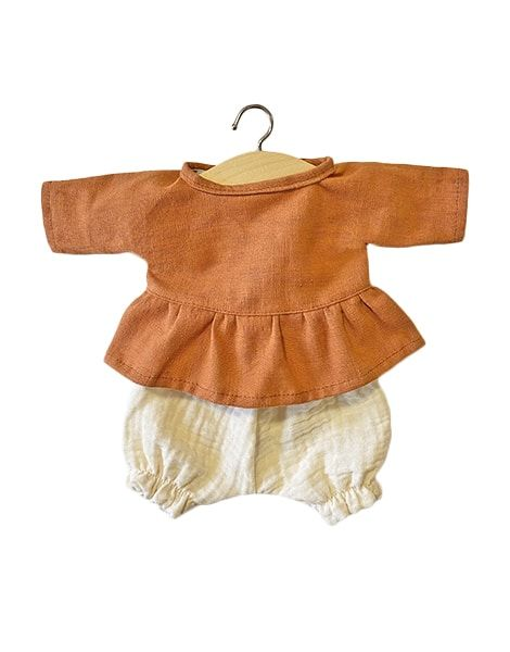 "Minikane, Ophélia"" set in Cognac linen and ecru double gauze cotton"