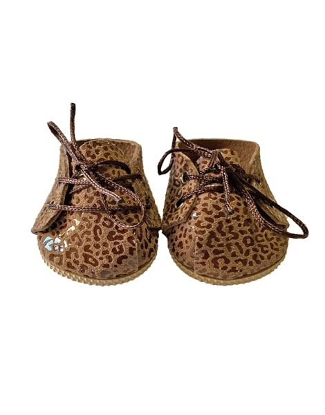 Minikane, Leopard Brown Leather Lace-up Shoes