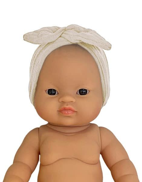 Minikane, Ecru double gauze cotton headband