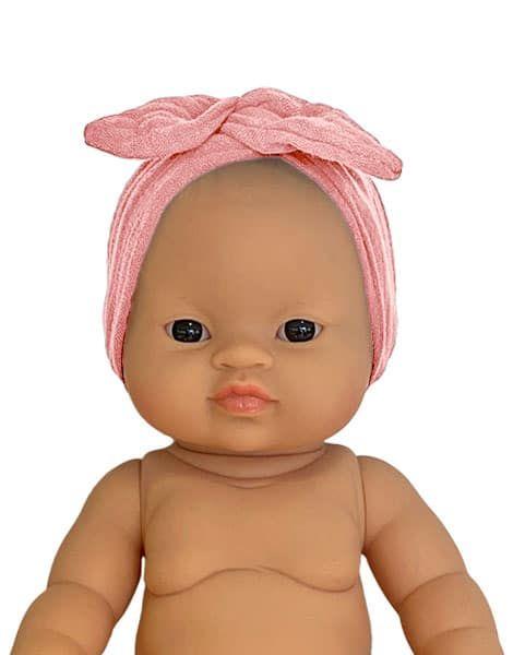 Minikane, Double gauze cotton headband Soft pink