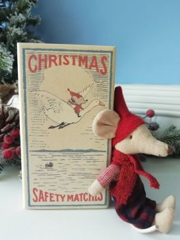 Maileg, Christmas Mouse Big Brother in Matchbox