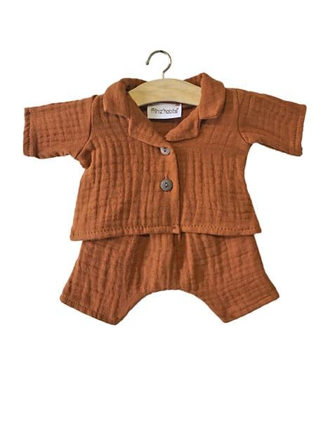 "Minikane, ""Albert"" pajamas in Cognac double gauze"