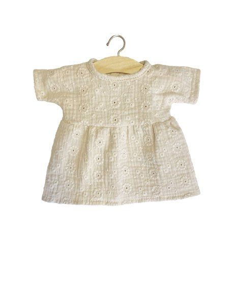 Minikane, Cotton Faustine Dress Embroidered Putty