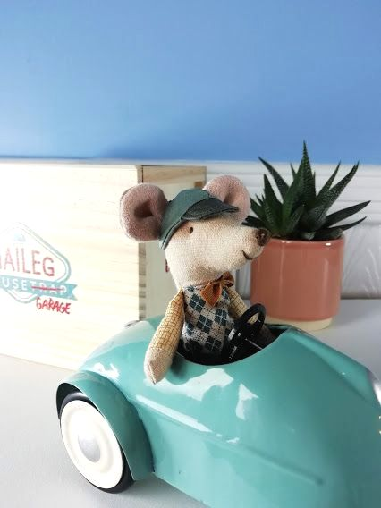 Maileg, Mouse Car with Garage - Blue