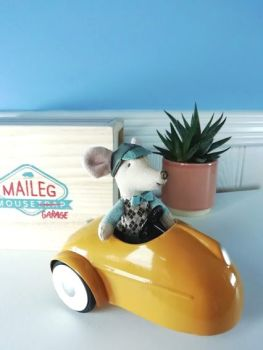 Maileg, Mouse Car with Garage - Yellow