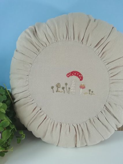Maileg, Large Round Cushion - Sand w Toadstool Details