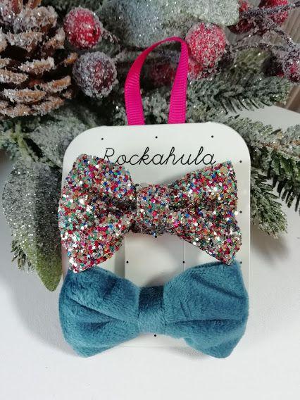 Rockahula Kids, Velvet And Glitter Bow Clips Blue (Two Left)