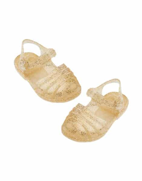 "Minikane, ""Sun"" beach sandals for Gordis doll Gold glitter"