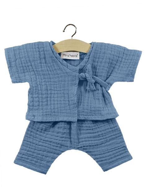 Minikane, Double gauze cotton Niko kimono (Blue)
